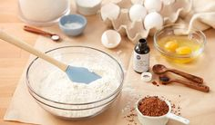 A comprehensive guide to common baking substitutes for ingredients such as baking powder, baking soda, spices, sugar and more. Baking Tips, Baking Recipes, Cake Recipes, Unsweetened Applesauce, Unsweetened Cocoa, Egg Substitute In Baking, Buttermilk Substitute, Wilton, Cake Flour