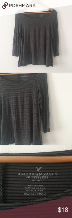 American Eagle Outfitters • Striped Dolman Top Flouncy XS top. Grey with black stripes, quarter sleeve. American Eagle Outfitters Tops