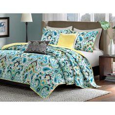 King 5 Piece Paisley Pattern Lightweight Cotton Coverlet Quilt Set