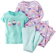 Carters Baby Girls 4 Piece Graphic Tee PJ Set Baby  Cupcake  6M *** Check out the image by visiting the link.