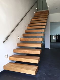 Kragarmtreppe Bayern - designed by TBS Home Stairs Design, Interior Stairs, House Design, Stairs In Living Room, House Stairs, Queenslander House, Wood Staircase, Stairs Architecture, Modern Stairs