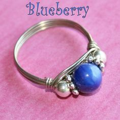 BLUEBERRY Celebration Party Ring in Mother of Pearl Ring in Silver Sizes 3 - 10 by Maru