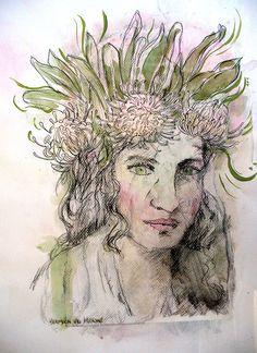 Gekroon by Hermien vd Merwe Crown Of Thorns, Printing Ink, Hardy Plants, Chalk Pastels, Amazing Flowers, Pin Cushions, My Arts, Van, Vans