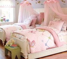Room inspiration - purple walls, green bench, butterflies...pink bedding?