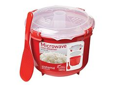 Warm Food Steam Sistema Microwave Rice Steamer - 2.6 L, Red/Clear Cookware Home #Sistema