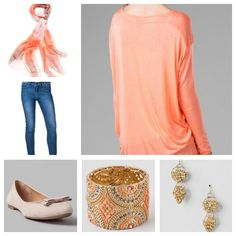 Basic Long Sleeve Top in Peach, Cleveland Color Block Scarf, Harper Ultra Skinny Jean in Stone Wash, Beverlie Bow Flat in Nude, Lavaca Jeweled Cuff in Peach, and Sagecroft Beaded Earrings in Gold