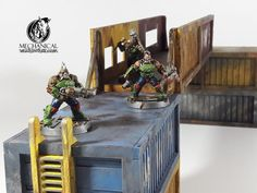 Shipping Container Bridge is handy to get your Necromunda gangs from sector to sector. Compatible with Mechanical Warhorse shipping container kits you can make your bridge as high as needed, Necromunda Gangs, Game Effect, Wargaming Terrain, Liquor Cabinet, Bridge, Container, Make It Yourself, Storage, Furniture