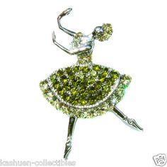 New w Swarovski Crystal Ballet Dancer Ballerina Princess Pin Brooch Xmas Green | eBay