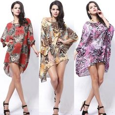 Women Chiffon Overall Batwing-sleeve Animal Print Suncare Long Blouse