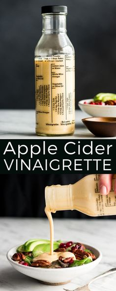 This healthy homemade Apple Cider Vinaigrette recipe is the perfect dressing for any salad! It's easy to make (ready in less than 5 minutes) is super flavorful and has none of the processed ingredients that are found in store-bought salad dressings! Fruit Salad Recipes, Chicken Salad Recipes, Sauces, Homemade Apple Cider, Dairy Free Recipes, Gluten Free, Baking Ingredients, Tortellini, Pistachio