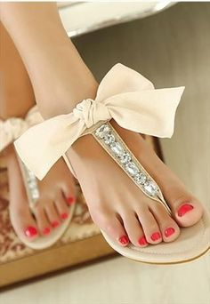 Girly bows and rhinestones shoes flat summer sandals with apricot bows