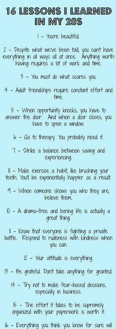 16 Lessons in my life
