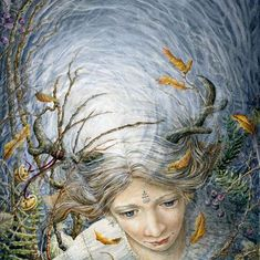 "Fairy painted in Watercolour by Melissa Mary Duncan, called ""Out Of The Blue"" Watercolor Trees, Watercolour, Tree Of Life, Folklore, Faeries, Troll, Pagan, Fairy Tales, Witch"