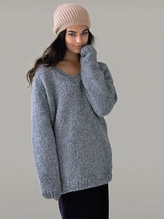 'COSY' oversized V-neck sweater knitted in Rowan Brushed Fleece from 'Still' by Kim Hargreaves - English Yarns