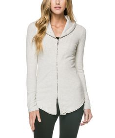 Another great find on #zulily! Khaki Knit Zip-Front Jacket by miilla  #zulilyfinds