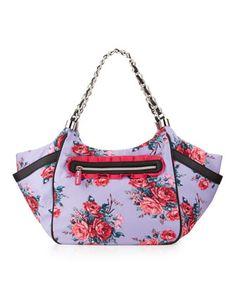 Rose Print Nylon Satchel, Purple/Pink by Betsey Johnson at Last Call by Neiman Marcus. $70.00
