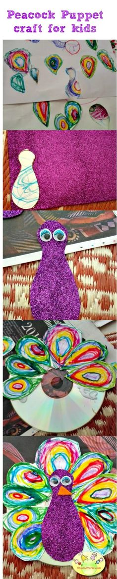peacock puppet craft for kids