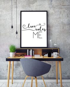 A printable love rules quote that is the perfect love sign for my desk or home decor. Black and white inspirational quote for yoga lovers and girlbosses everywhere.