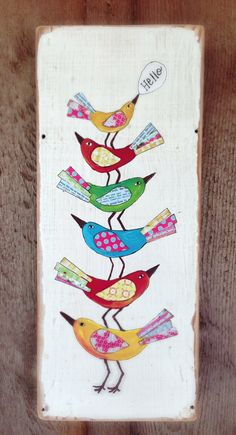 Hello Birds Modern Folk on Reclaimed Wood by evesjulia12 on Etsy, $58.00