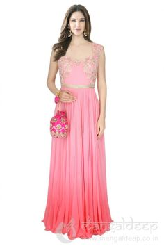 Readymade Light Pink Pure crape Party wear Gown. For more information :- Call us @+919377222211 (Whatsapp Available)