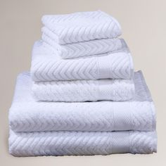 White Chevron Cotton Towels | World Market