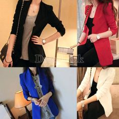 Korea Women's Fashion Medium Style Slim Suit Blazer Jacket Padded Shoulder Coat