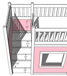 58828338852032890 DIY: Playhouse Loft Bed w/Storage Stairs  Please build this for our girls!