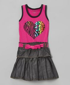 Take a look at this Pink Heart Ruffle Belted Denim Dress by Izzy Bella on #zulily today!