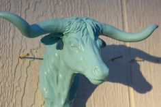 TURQUOISE  Resin Longhorn Hook / Shabby Chic / Western / Coat Hook / Key Hook. $14.99, via Etsy.