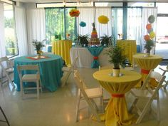 tropical party - I like how the tablecloths won't blow in the wind.