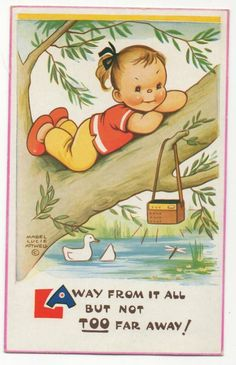 Away from it all but not too far away! ~ Mabel Lucie Attwell Vintage Postcard ....