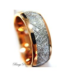 Women Meteorite Ring Rose Gold Wedding Band His by RingsParadise