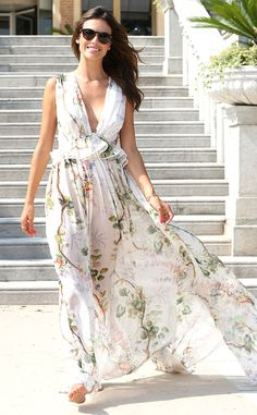 Alessandra Ambrosio from 2015 Venice Film Festival: Star Sightings The supermodel slips on a breezy printed Philosophy di Lorenzo Serafini number with a deep V-neck and ruffled peplum waist.