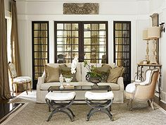Neutrals ~ Love the french chair  two tone color with white wash wood trim!!