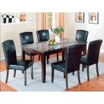 Crown Mark - Crown Mark 7 PCs. Onyx Contemporary Black Marble Top Dining Table Set - 592466T-3864-S7  SPECIAL PRICE: $801.00