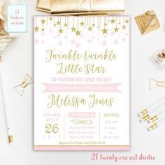 Twinkle Twinkle Little Star Baby Shower Invitation, Pink and Gold Baby Shower Invitation, Sparkle Printable Baby Shower Invite