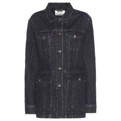 zizzi grey plus size distressed denim jacket (€82) ❤ liked on