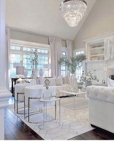 white living room decor Glam living room decor,Stunning all white glam living room decor with white tufted sofas Glam Living Room, Living Room Decor Cozy, Elegant Living Room, Living Room White, Small Living, Modern Living, Luxury Living, Luxury Dining Room, Elegant Home Decor