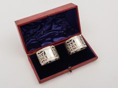Cased Pair of Victorian Silver Napkin Rings, 1896 | Looking For Antiques