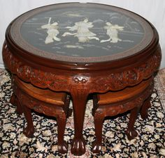 Coffee Table Unique Oval W 6 Stools Village Scenes Price 45999oriental Hand Carved With Oriental Uk Tables In 2019