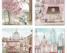 Paris london nyc rome vintage blush pink fine art prints paris london rome new york travel theme nursery personalized baby shower gift twin girls shared bedroom wall art 6 sizes to negle Image collections