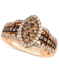 Le Vian White and Chocolate Diamond Ring in 14k Rose Gold (1-1/4 ct. t.w.) | macys.com
