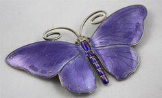 Perfect Large Marius Hammer Norway Sterling Silver Enamel Butterfly Pin Brooch | eBay