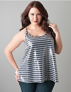 Clear sequins shimmer from the front of this striped racer back tank from DKNY JEANS. Flattering scoop neck tank dazzles worn alone or layered.  lanebryant.com