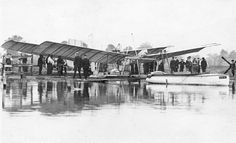 Curtiss with Langley's Aerodrome   Postcard   Wisconsin Historical Society