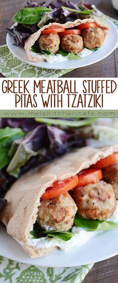 Greek Meatball Stuffed Pitas with Easy Tzatziki Sauce