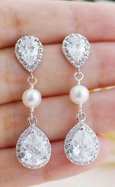 Luxury Halo Style Cubic Zirconia Pear Drop with Swarovski Pearls Bridal Earrings from EarringsNation Bridesmaid Gifts