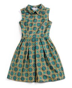 Green Sleeveless Dress with Abstract Print