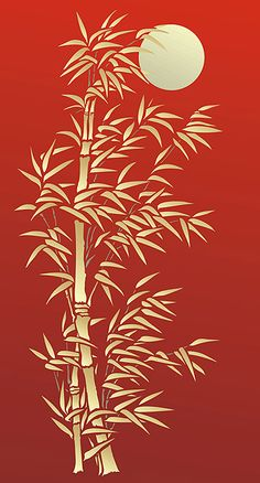 handmade card ... Bamboo Stencil used with gold embossing paste on Chinese red ... luv the delicate leaves ... tall and narrow ...