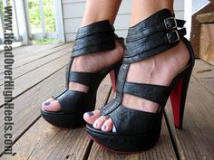 """anne"" black platform sandals with red sole by justfab"